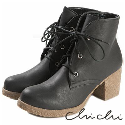 Chichi-日本品牌空運-仿舊擦色綁帶高跟靴-黑色
