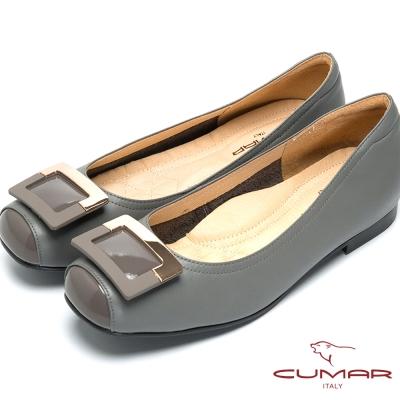 CUMAR法式優雅-方形飾釦小方頭平底鞋-灰色