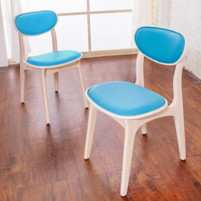 Boden-莉亞簡約實木餐椅/單椅(藍色)(四入組合)-43x49x79m