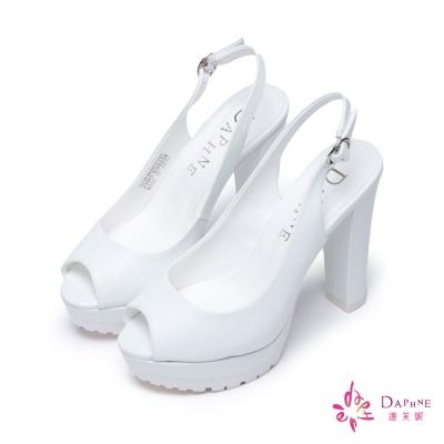 達芙妮DAPHNE-復古派對鋸齒防滑底粗跟魚口鞋-活力白