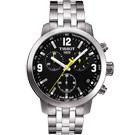 TISSOT PRC 200 競速三眼計時腕錶-黑/銀/42mm