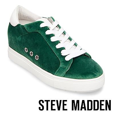 STEVE MADDEN-STEAL 天鵝絨內增高綁帶休閒鞋-綠色