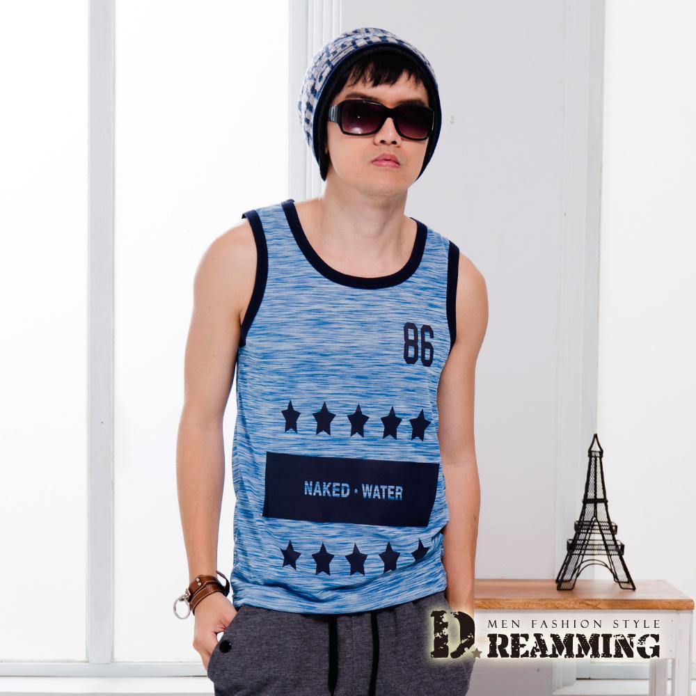 Dreamming 韓系時尚混色五星輕薄舒適背心-共三色 (彩藍)