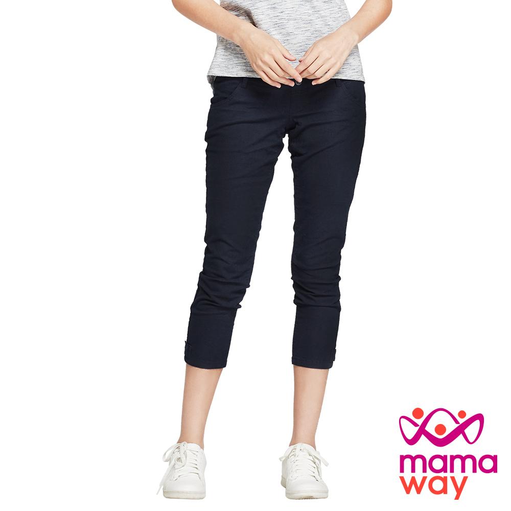 孕婦褲 九分褲 孕期竹節涼爽九分褲(共四色) Mamaway