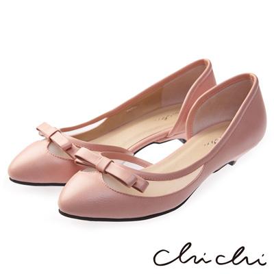 Chichi甜美主導 蝴蝶結透膚低跟鞋*粉色
