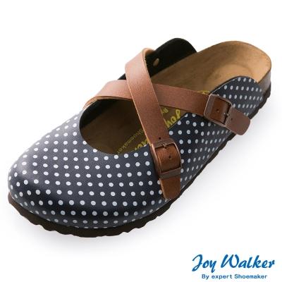 Joy Walker 經典交叉包頭拖鞋*藍點點