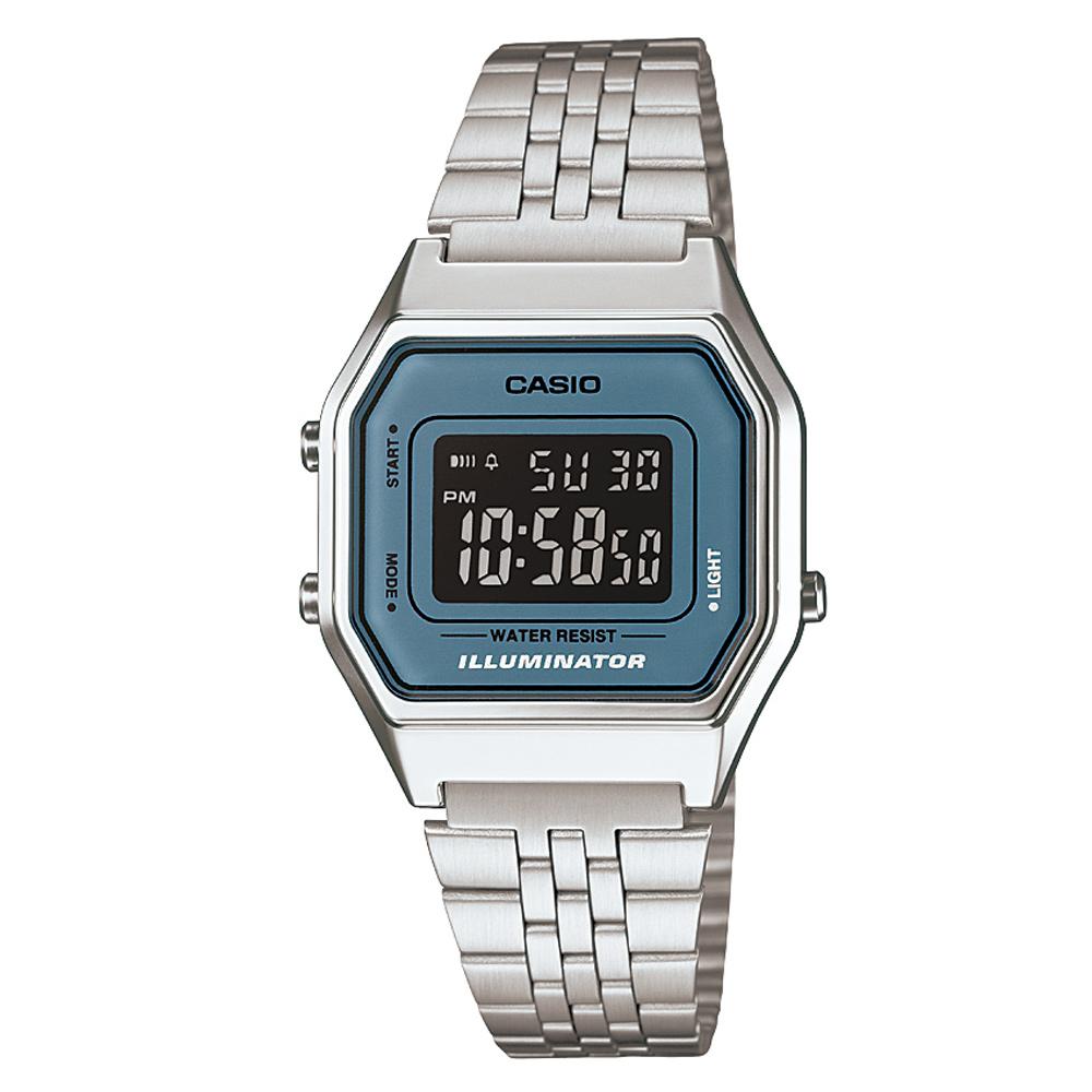 CASIO 經典復古數字型電子錶(LA-680WA-2B)-銀色x灰藍框黑面/28.6mm
