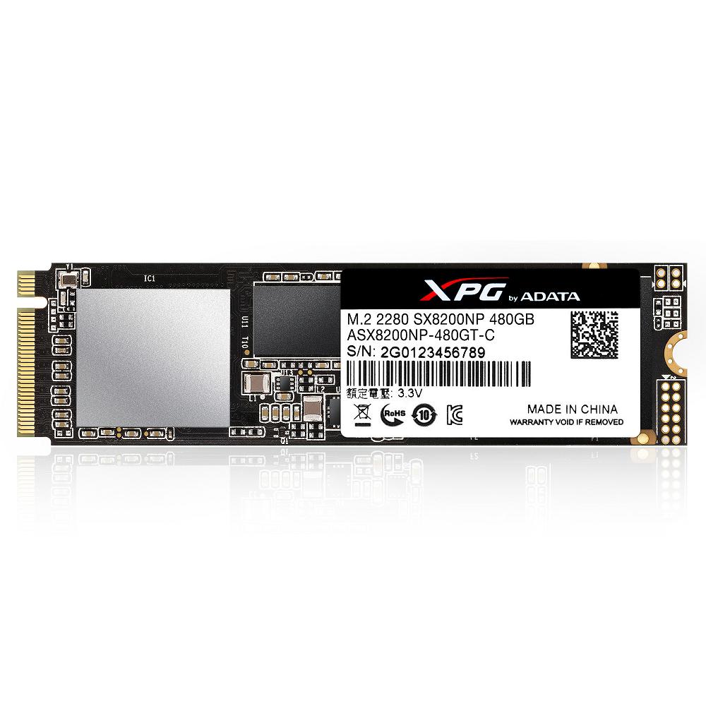 ADATA威剛 XPG SX8200 480G M.2 PCIe固態硬碟(含散熱片)