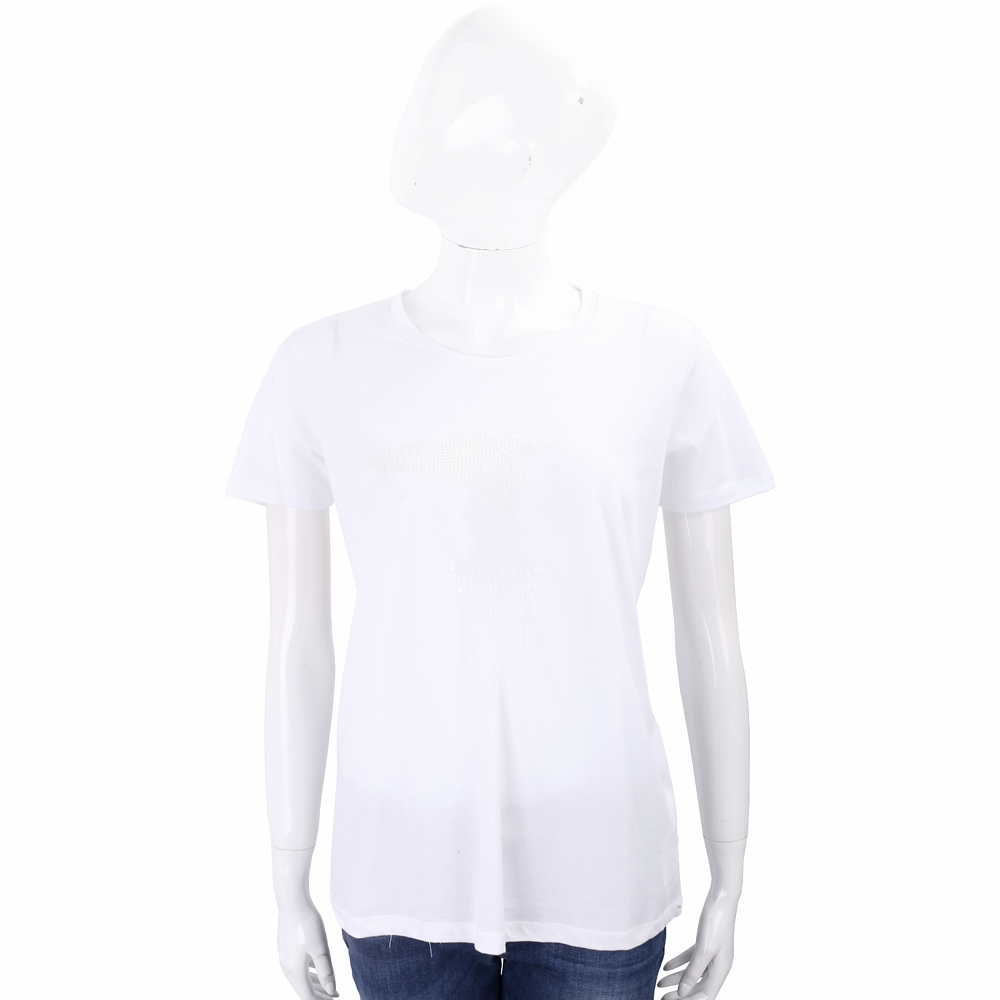 TRUSSARDI 亮片字母白色棉質T恤