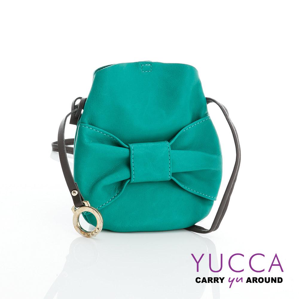 YUCCA - 甜美蝴蝶結牛皮小包-湖水綠-D013144