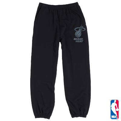 NBA-邁阿密熱火隊縮口厚棉長褲-黑(男)