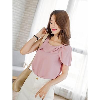 質感純色層次蝴蝶結領口造型無袖上衣.2色-OB大尺碼