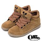 Ollie韓國空運-正韓製米奇刺繡麂皮寬綁帶增高鞋-咖