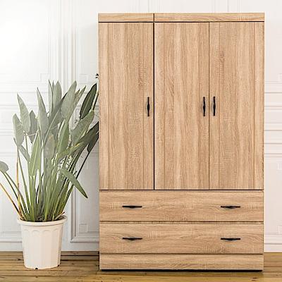 時尚屋  歐德曼原切4x6尺開門下二抽衣櫃 寬113.5x深57x高182cm