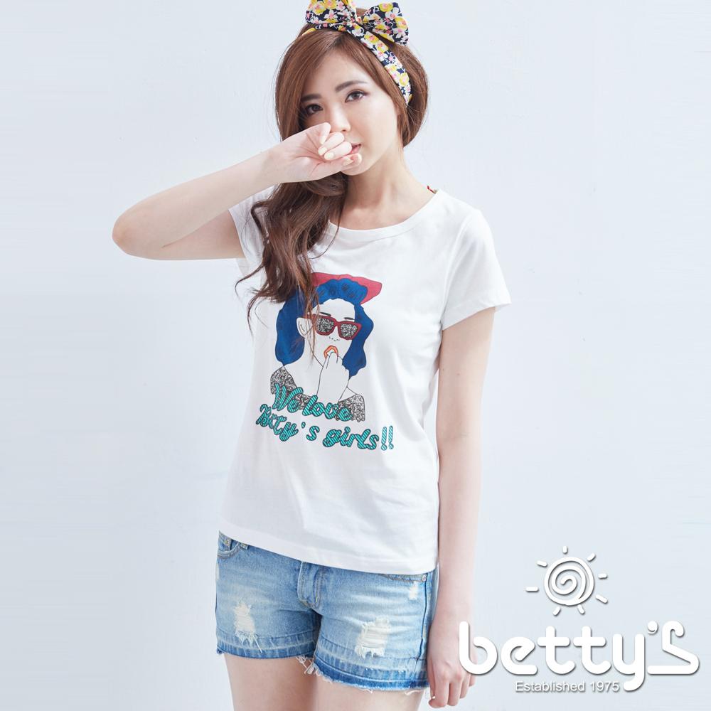 betty's貝蒂思 墨鏡女孩插圖純棉T-shirt(白色)