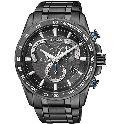 CITIZEN Eco-Drive 鈦光動能電波計時腕錶(AS8025-57E)-黑/43mm