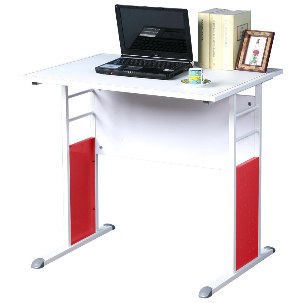 Homelike 巧思辦公桌 亮白系列-白色仿馬鞍皮80cm