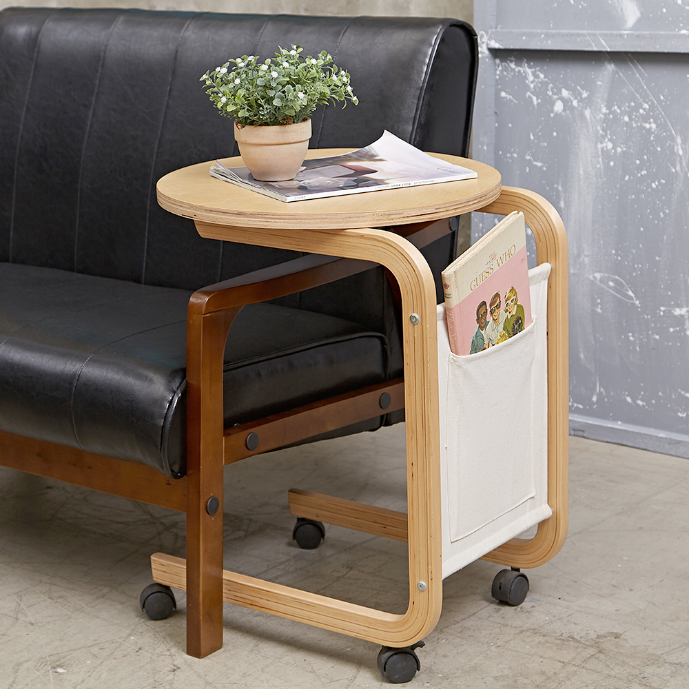 Bed Maker-袋鼠風火輪 移動邊桌/餐桌/邊几/實用茶几(曲木製造)49x45x61cm