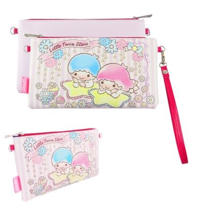 Sanrio三麗鷗皮革彩繪橫式手機袋 萬用包-雙子星