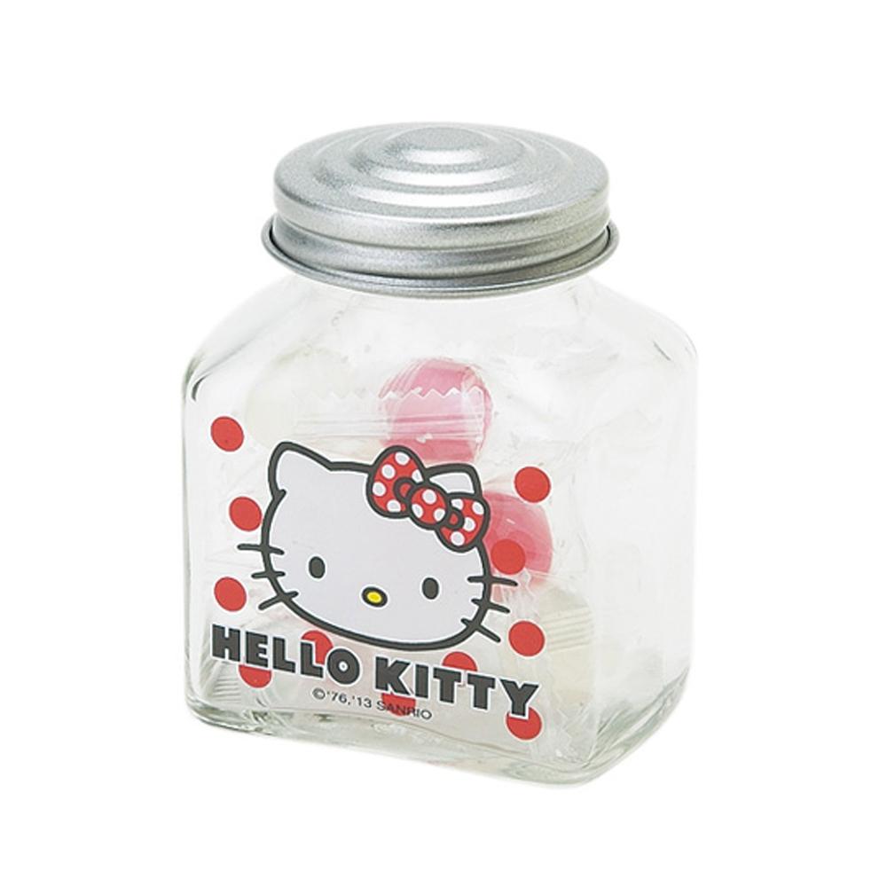 《Sanrio》HELLO KITTY透明玻璃瓶附蓋(糖果罐)