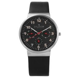 SKAGEN 北歐丹麥卓越品味三環視窗真皮手錶-黑色/36mm