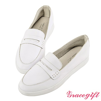 Grace gift-全真皮柔軟樂福懶人鞋 白