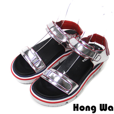 Hong Wa-歐美街頭時尚特色邊線休閒涼鞋-銀