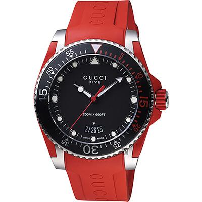 GUCCI 古馳 Dive 品牌色系200米潛水錶~紅 40mm