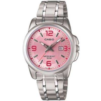 CASIO 簡約經典時尚指針日曆腕錶(LTP-1314D-5)粉紅面/33mm