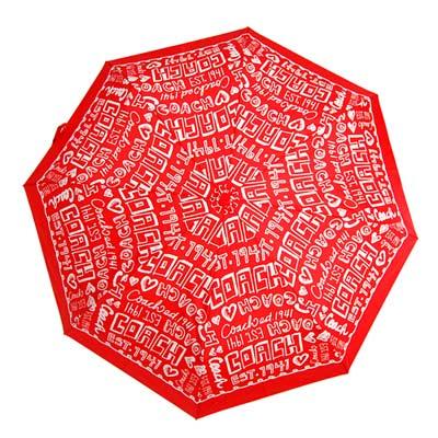COACH紅底白色POPPY塗鴉文字自動開啟晴雨傘