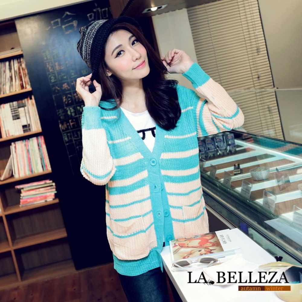 【La Belleza 中大尺碼】橫條上下配色針織排釦毛衣外套