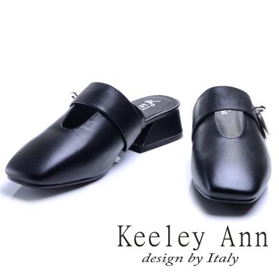 Keeley Ann  ~環帶金屬圓釦 全真皮中跟穆勒鞋 黑色~Ann