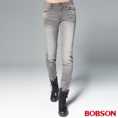 """BOBSON 男款1971""""日本進口黑標""""灰白刷色彈性褲"""
