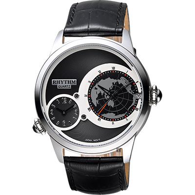RHYTHM日本麗聲 雙時區石英手錶-黑/43mm