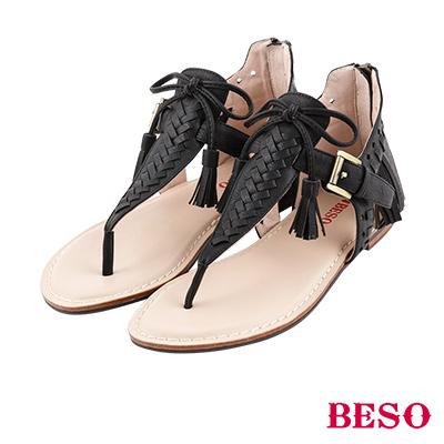 BESO 率性不羈 編織T帶流蘇後拉帶涼鞋~黑