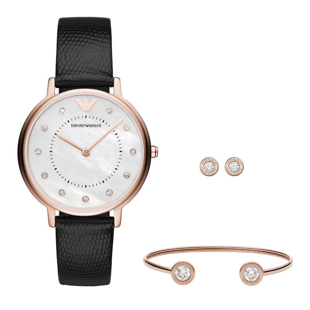 Emporio Armani亞曼尼自信美學時尚套錶組-32mm/珍珠母貝x黑色
