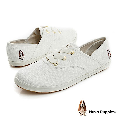 Hush Puppies COCO針織咖啡紗帆布鞋-白色
