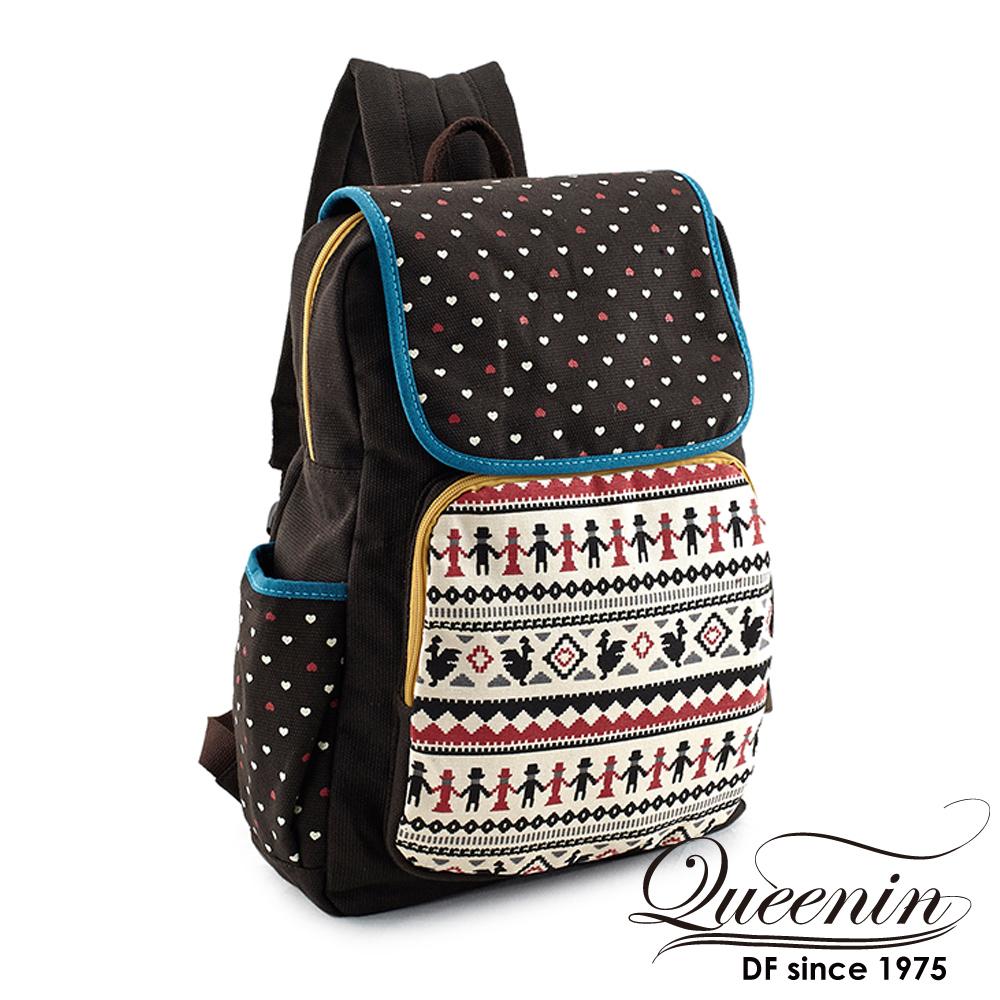 DF Queenin日韓 - 甜美文青系帆布款後背包-俏皮咖