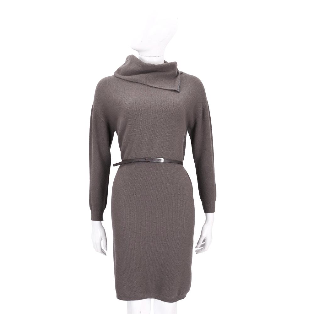 FABIANA FILIPPI 可可灰色翻領設計羊毛長袖洋裝(附腰帶)
