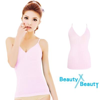 Beauty x Beauty 美型纖體防駝塑身細肩帶背心240D緊緻款 粉紅色