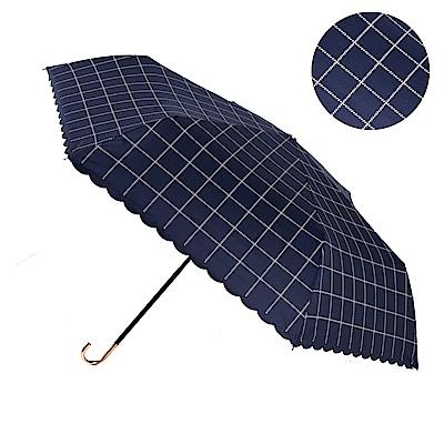 2mm 色膠抗UV 格紋滾邊輕量彎把手開傘 (格子藍)