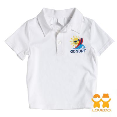 【LOVEDO艾唯多童裝】盛夏的海邊 潮流短袖Polo衫 (白)