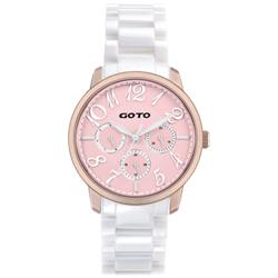 GOTO SC浪漫情人陶瓷時尚手錶-IP玫x粉/39mm