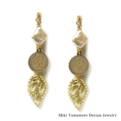 【山本美樹】 露西的錢幣 2way針式耳環