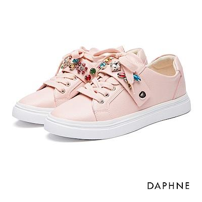 達芙妮DAPHNE 休閒鞋-水鑽可拆繫帶平底休閒鞋-粉紅