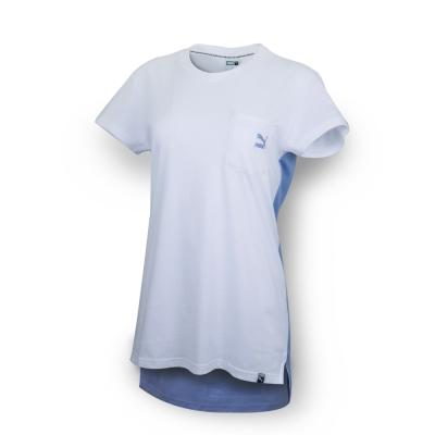 PUMA - 女性 流行系列口袋長版短袖T恤-白