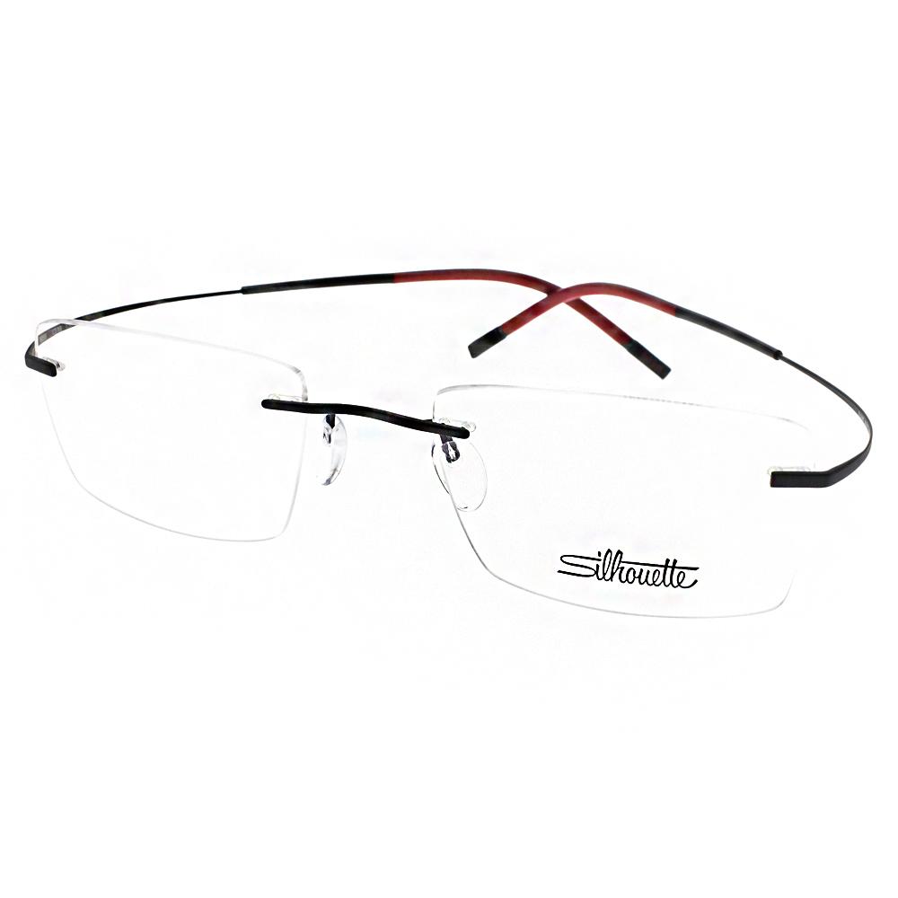 Silhouette詩樂眼鏡 輕盈無框款/黑-紅#ST7581 C6058