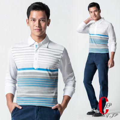Christian-質感橫條雙絲光100-棉POLO衫-白-PW401-80