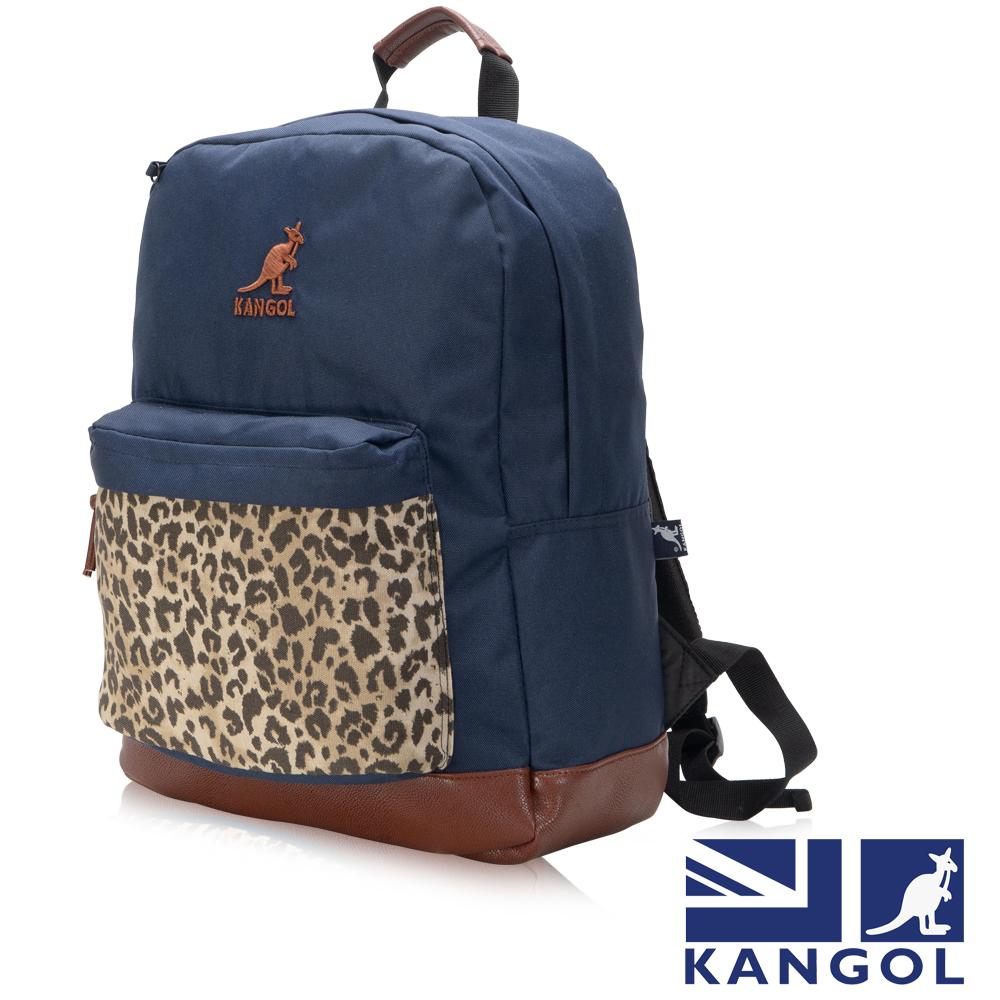 KANGOL 英式新潮時尚後背包 袋鼠繡LOGO豹紋元素可置放15吋筆電後背包-藍色