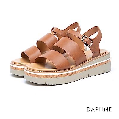達芙妮DAPHNE 涼鞋-羅馬款寬帶Y型繞踝釦帶厚底涼鞋-棕